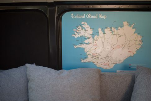map of Iceland inside a camper
