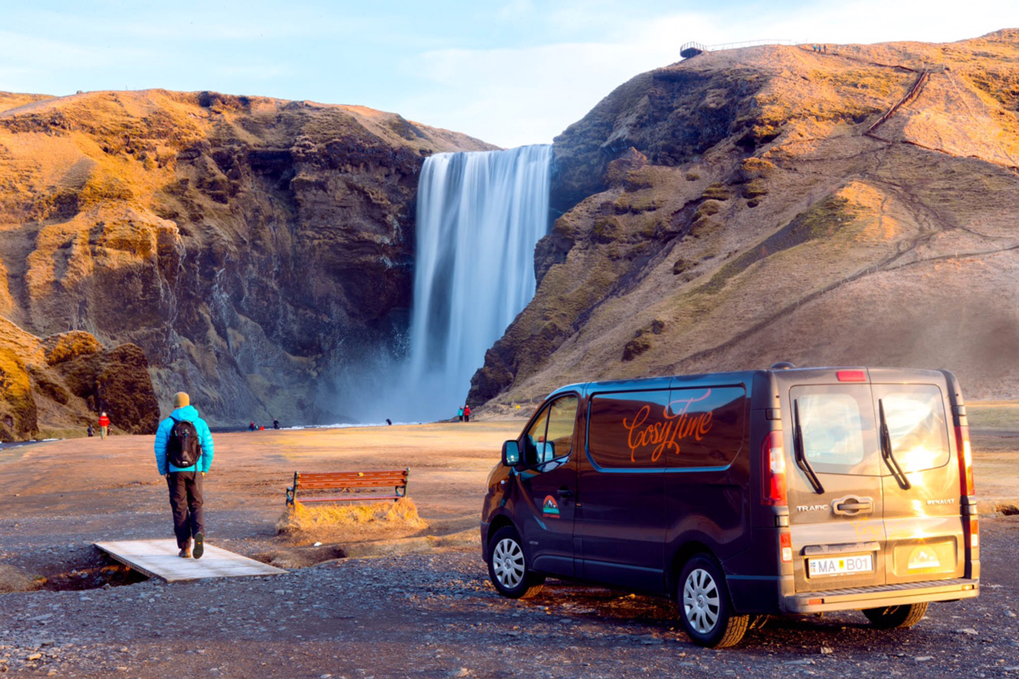 Cozy camper at Seljalandsfoss, Iceland