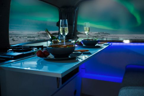 Northern lights camper in Iceland, interior