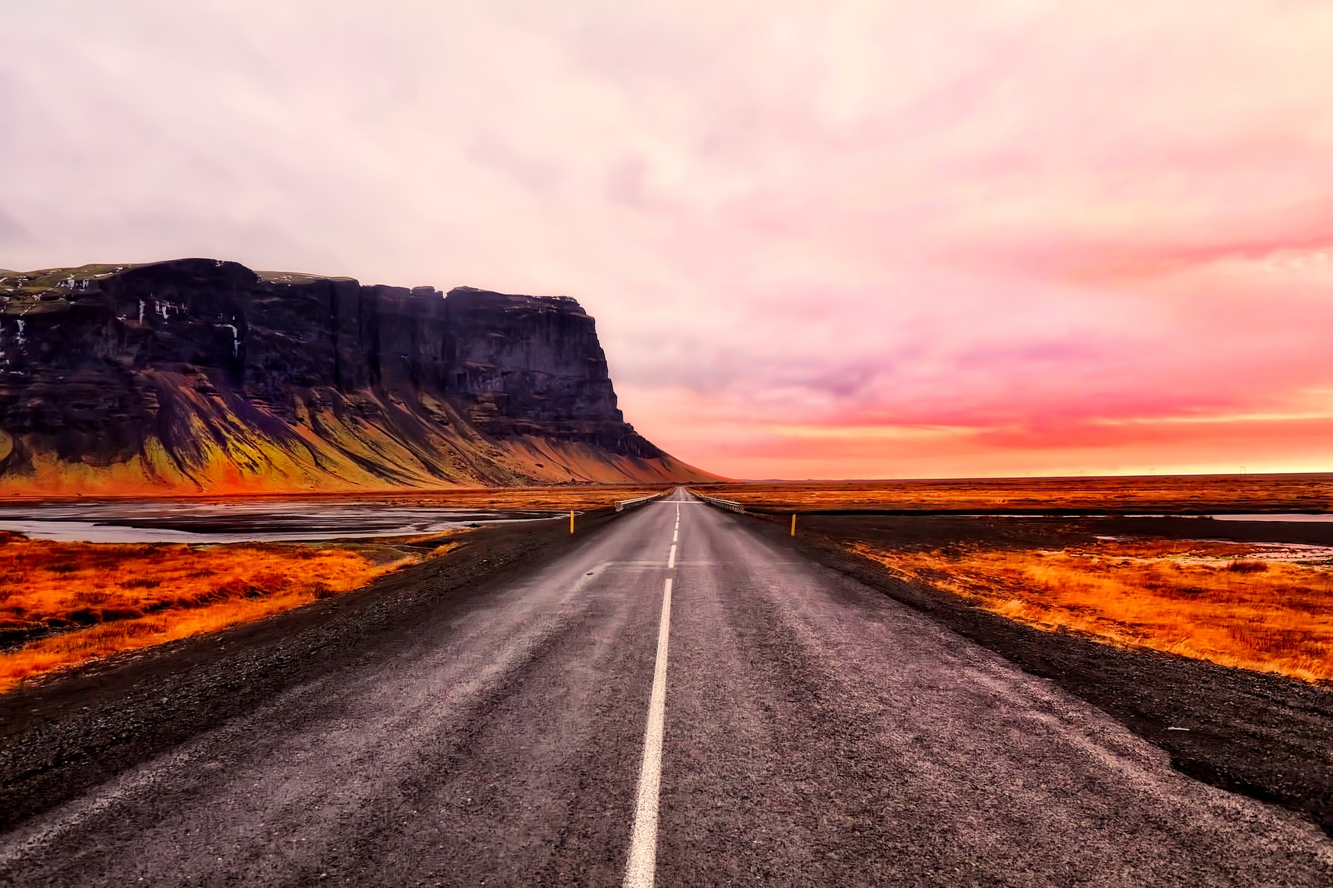 Sunset in Iceland while on nature road