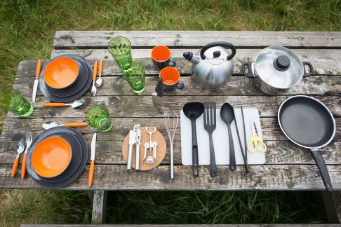 kitchen utensils and crockery for camping