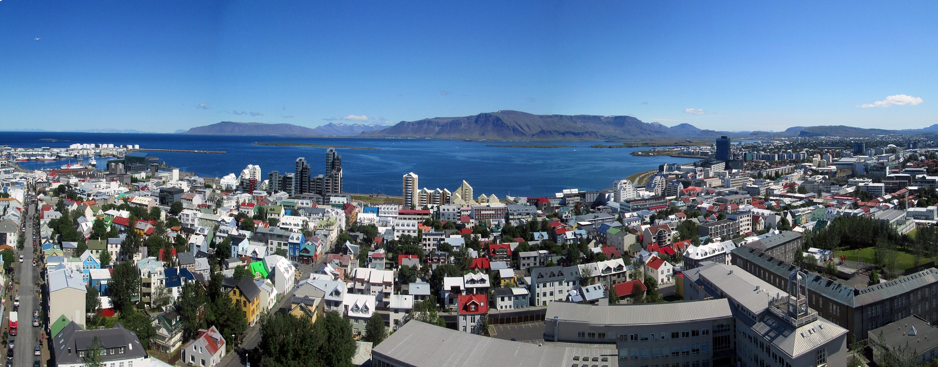 Reykjavik from above on a sunny day