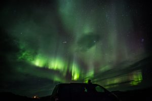 Northern lights in Iceland by campervan