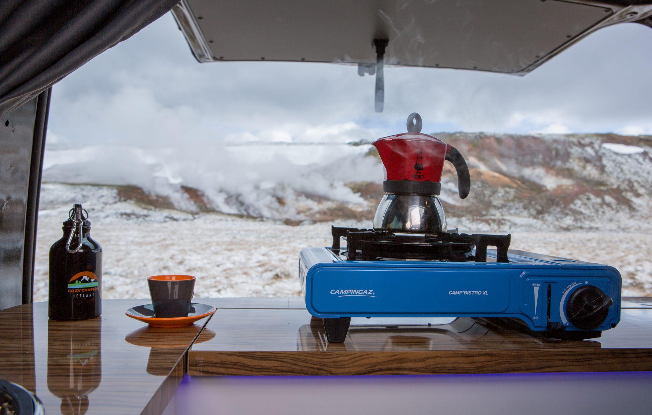 gas stove inside a camper