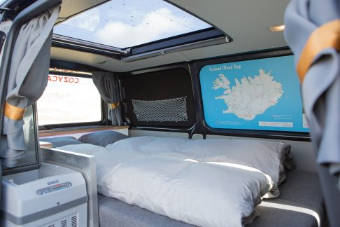bed inside a camper