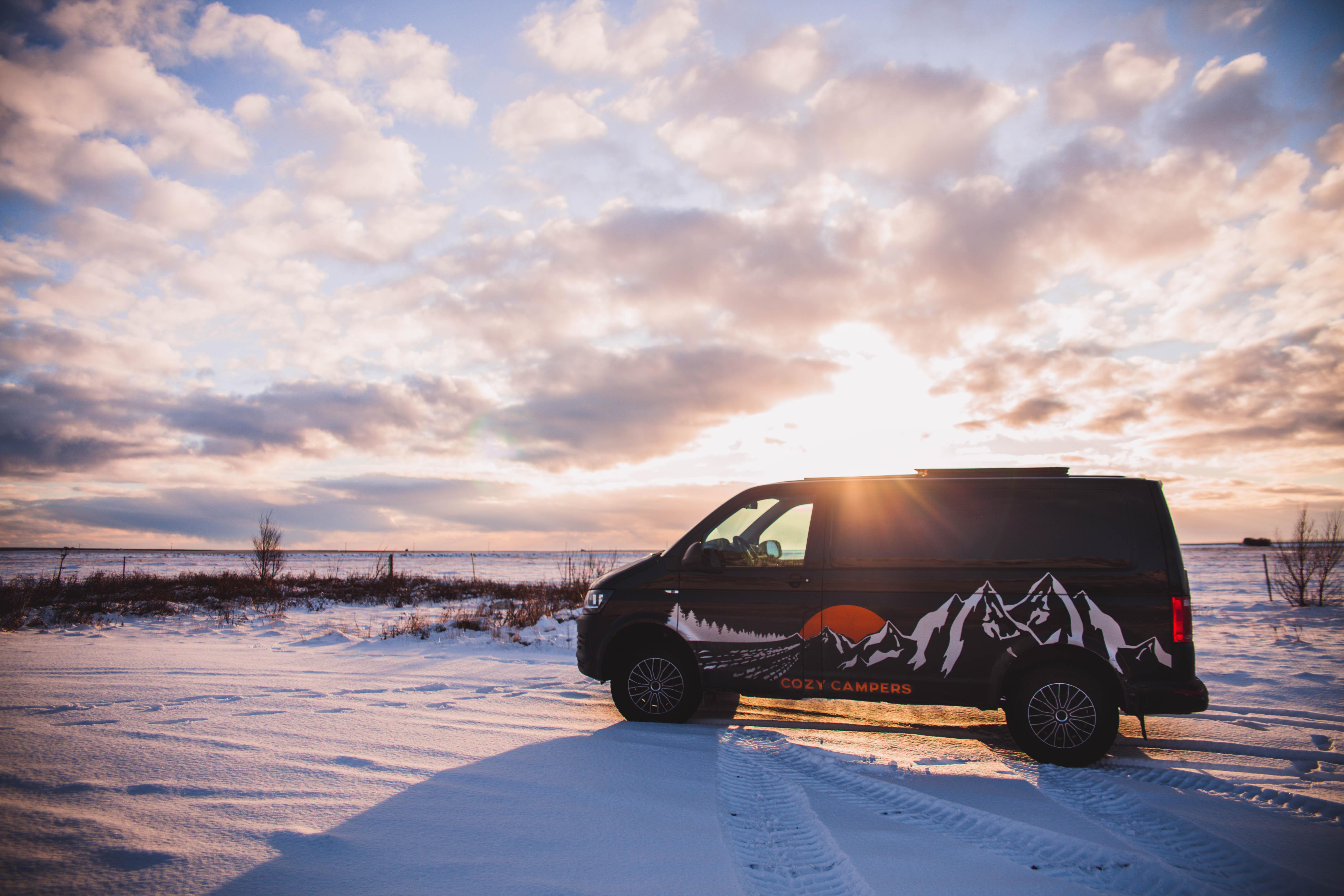 Camper in Iceland in winter landscape