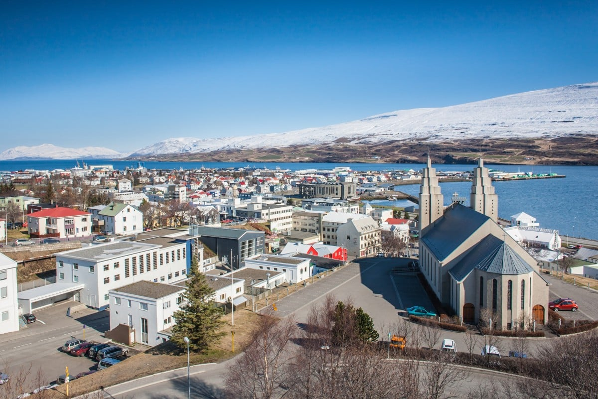 Overlooking Akureyri and the big church