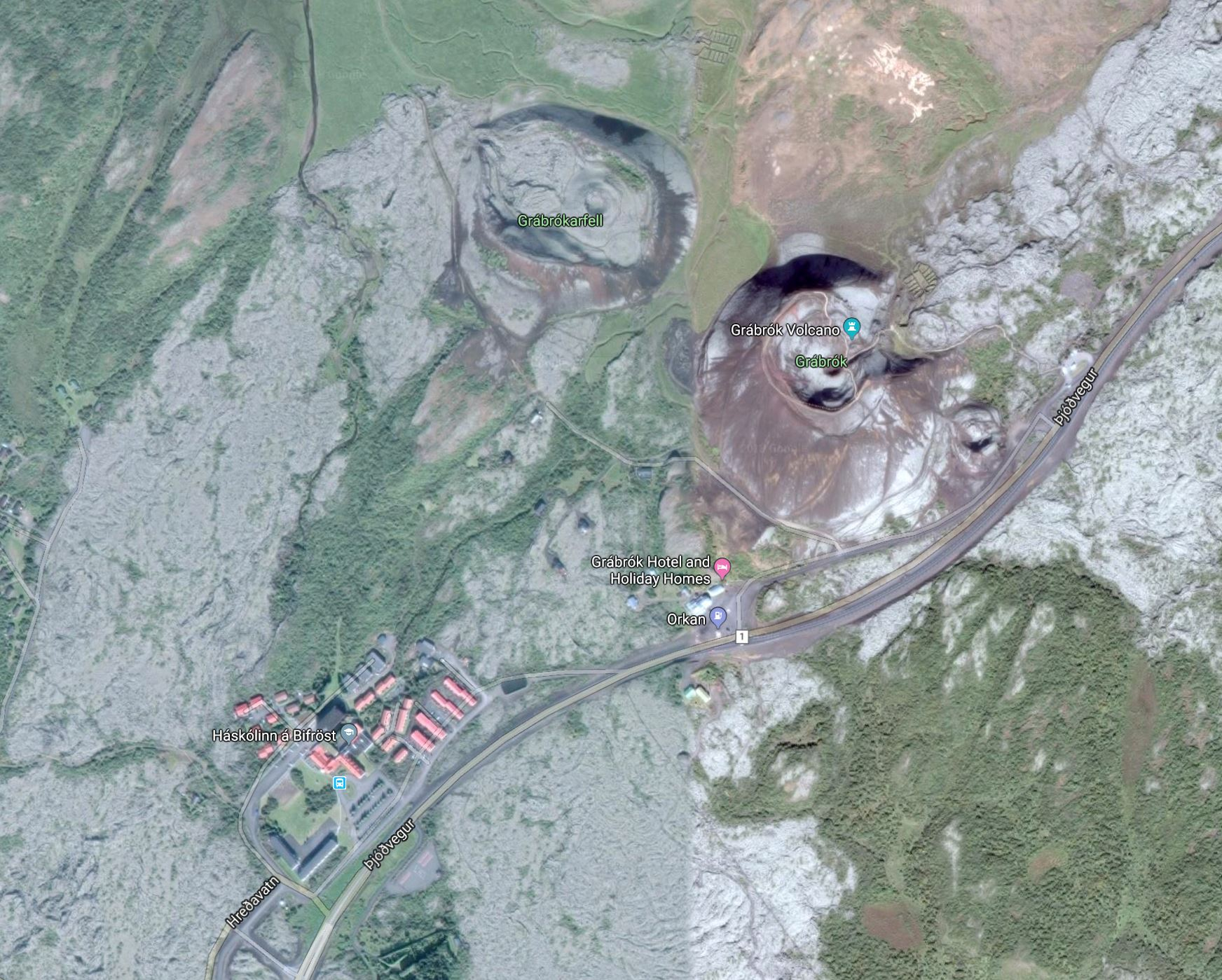 Google map view of Bifröst and Grábrók volcano