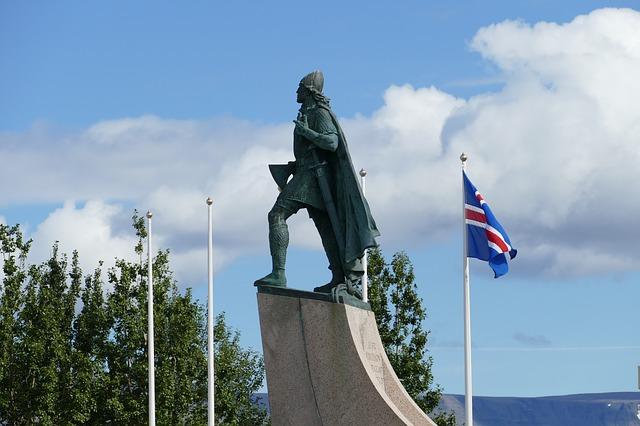 a viking statue near hallgrimskirkja