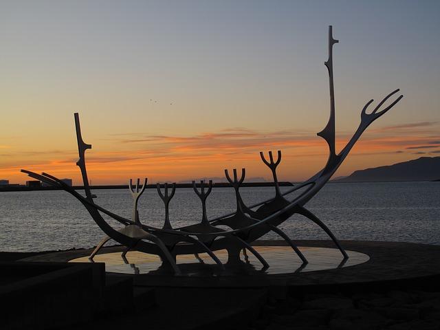 An icelandic viking ship monument