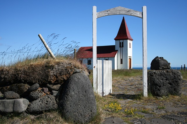 Church in Iceland in summer