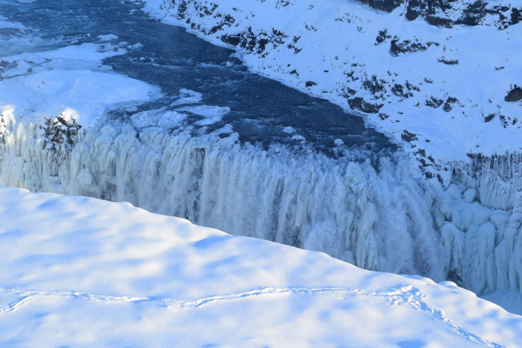 Gullfoss in a winter setting, winter, winter travel in Iceland, travel in Iceland
