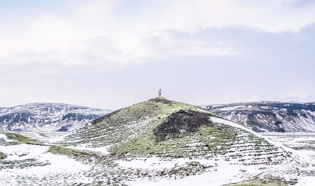 Iceland hill in winter