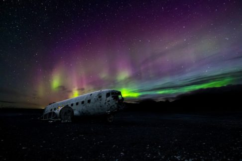 Iceland Northern Lights with aircraft wreck