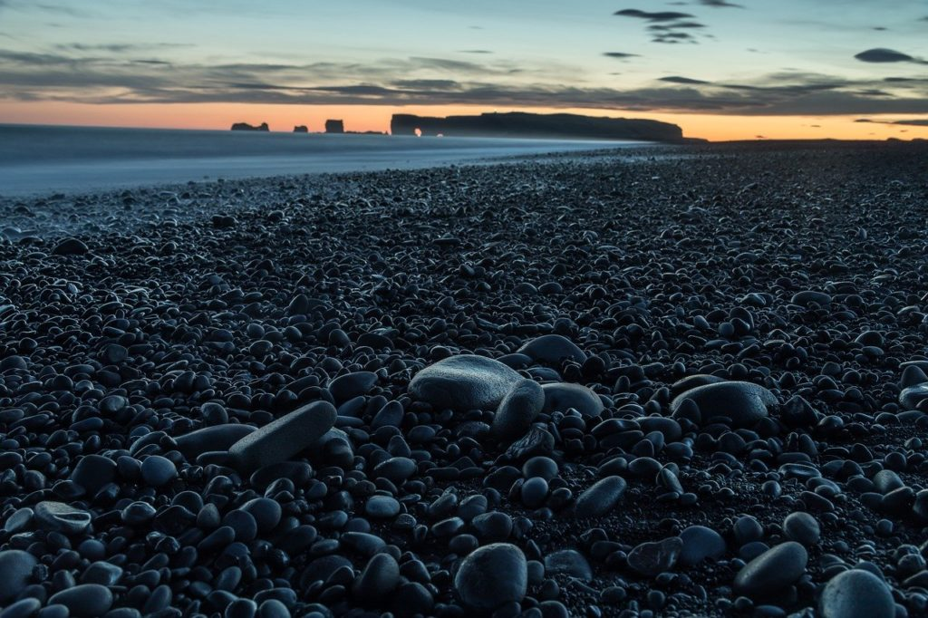 sunset at South Iceland beach